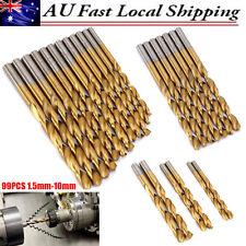 99pcs Titanium Coated HSS High Speed Steel Twist Drill Bit Set Tool 1.5 - 10mm