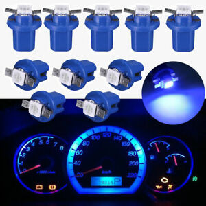 Car 10Pcs Blue T5 B8.5D 5050 1SMD LED Dashboard Dash Gauge Instrument Light Bulb