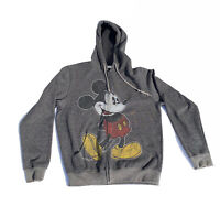 Mickey Mouse Gray Distressed Disney Parks Zipper Hoodie Sweatshirt Size M Adult