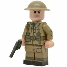 Lego Custom WW2 British Army OFFICER Full Body Printing NEW w/Brickarms Revolver
