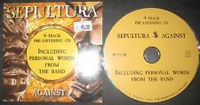 PROMO CD Sepultura – Against + personnel Words --- Trash Metal Company Slayer
