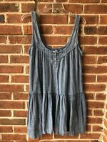 Ecote Urban Outfitters Women's Shirt Top Denim Look Sleeveless Snap Tunic Sz. M