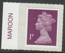 GB 2012 1p SELF ADHESIVE MACHIN CODE M12L MAROON on SELVEDGE MNH