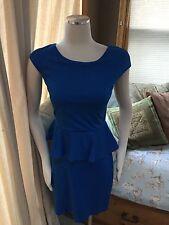 Express Royal Blue Ponte Stretch Peplum Dress 4 Excellent