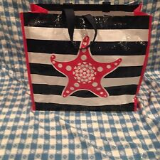 Tupperware Logo Tote Seashore Starfish Reusable Shopping Bag Pink White Blue New