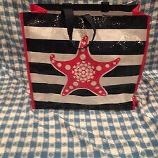 Tupperware Logo Tote Seashore Starfish Reusable Shopping Bag Pink White Blue New