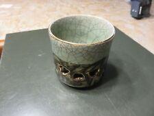 Japanese Somayaki Double Walled Tea Cup Obori Soma-yaki Pottery Gold Horse Motif
