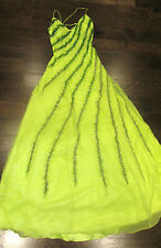 WOMENS NEON GREEN NIGHT GOWN SEXY PROM WEDDING DRESS OCCASION LONG SIZE 4 BEADED