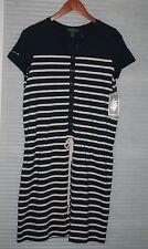 LRL Lauren Ralph Lauren Navy Blue Striped String Waist Dress Size Small NW $109