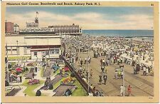 Miniature Golf Course, Boardwalk and Beach in Asbury Lake NJ Postcard 1948