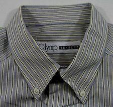 TC6103 OLYMP TENDENZ Herren Business-Hemd Blau Weiß Gelb Streifen Lang 42  w NEU