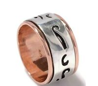 Two Tone Meditation Ring, Spinner Ring 925 Sterling silver Handmade Ring US-7.5