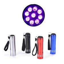 Mini UV Ultra Violet 9 LED Flashlight Blacklight Light Inspection Lamp Torch MW