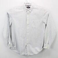 NAUTICA Men's Long Sleeve Shirt Size Large White Blue Checks Button Down Collar