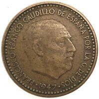 1947 (53)  Spain Francisco Franco 1 Peseta  Aluminium-Bronze  KM # 775