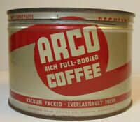 Vintage 1950s ARCO COFFEE GRAPHIC KEYWIND COFFEE TIN ONE POUND DULUTH MINNESOTA