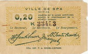 Belgium-Ville de Spa,20 Centimes Banknotes,1918 Very Good Cond,