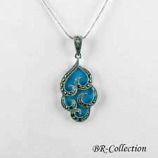 Sterling Silver Pendant with Turquoise and Swiss Marcasite