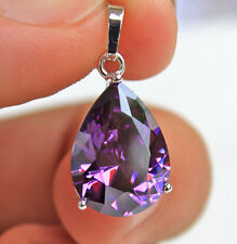18K White Gold Filled- 16MM Amethyst Waterdrop Topaz Cocktail Prom Noble Pendant