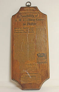 VINTAGE Plaque SMU Navy Game in Dallas DALLAS MORNING NEWS August 23 1929