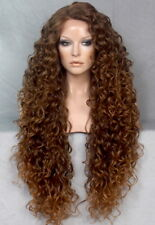 "40"" Full Lace Front Wig Extra Long Brown mix side part Heat Safe Curly 4-27"