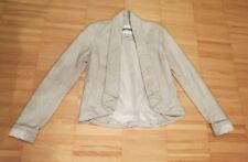 D Casual vegan leather ivory off-white cropped jacket blazer XS 0 2 4