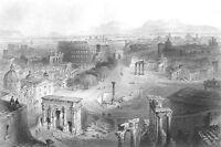 Rome, FORUM COLOSSEUM TEMPLES ARCH SEPTIMUS SEVERUS ~ 1850 Art Print Engraving