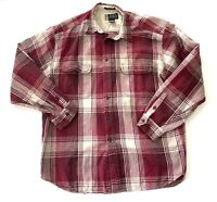 Eddie Bauer Legends Outdoors Hiking Camp Fishing Flannel Red Plaid Shirt Mens XL