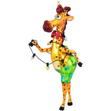 Giraffe w/Lights Glass Ornament