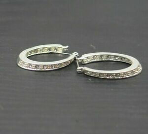Silver Toned Oblong Pierced Rhinestone Glittery Hoop Earrings Leverback a23