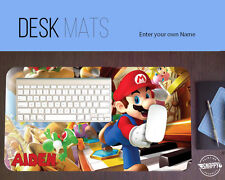 Personalized Super Mario Brothers Desk Mat  (Extended Mousepad)  add your name!!