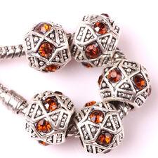 Fashion 5pcs Silver Czech big hole Beads Fit European Charm Bracelet DIY A#120