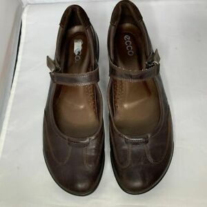Ecco Womens Mary Jane Hook & Loop Brown Leather Shoes Size 41