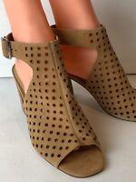 Marc Fisher Womens Tan Leather MFBERDIE Open Toe Sling Back High Heels Size 9M