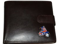 Scooter MOD Wallet Lambretta Leather Gift Black/Brown enamel Union Jack emblem