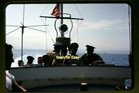 USAF Air Force Men on a Boat in early 1950's, Kodachrome Slide aa 9-11b