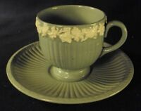 Wedgwood green demitasse cup and saucer white trim glossy B2