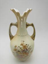 RW Rudolstadt German Porcleain 10 5/8in Vase hand painted floral gold trimmed
