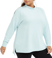 Ideology NWT Plus Size Cold Shoulder Mock Neck Top Mint Mist Green in 1X, 2X, 3X
