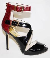 Women's Michael Kors TAMARA OPEN TOE Platform Sandal Heels Patent Black Cinnabar