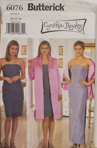 Butterick Sewing Pattern 6076 Dress Jacket & Shawl 20-24 Rowley Ladies UNCUT