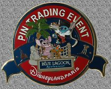 Stitch & Angel Gourmet Pin Event  JUMBO Pin Pirate Blue Lagoon DISNEY Pin LE 400