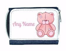 Personalised Girls/Ladies Denim Purse With Pink Teddy Bear