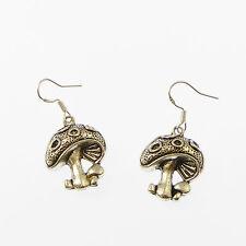 Tibetan silver Toadstool mushroom dangly earrings with sterling silver hooks