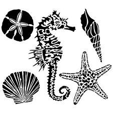STENCIL - Sea Creatures Starfish SeaHorse Sand Dollar - mixed media - collage
