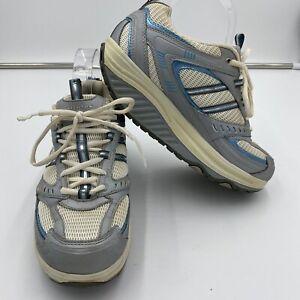 Skechers Womens Shape Ups Sz 7 11814 Silver White Walking Sneakers Shoes Lace Up