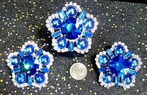 Large Iridescent Blue Button Rhinestone Earrings & Ring DragQueen Stage Pageant