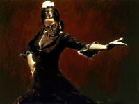 """Flamenco Dancer Oil Painting Giclee Art Printed on canvas 12x16"""" L2191"""