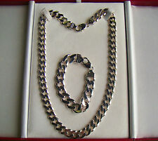 Sterling Silver Curb Chain & Bracelet 11mm