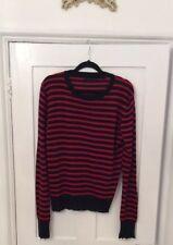 33beef3d3f568 Femme Zara rouge et noir à rayures Pull en maille Pull Avec Effilé bords M